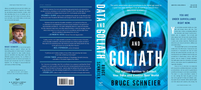 Dust Jacket of Data and Goliath by Bruce Schneier