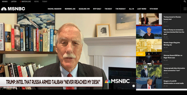 Screenshot of MSNBC interview with Angus King